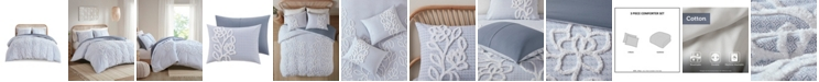 Madison Park Aitana King/California King Tufted Cotton Chenille Comforter, Set of 3