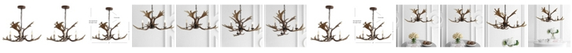 "JONATHAN Y Eldora 27"" Adjustable Resin Antler 3-Light LED Chandelier"