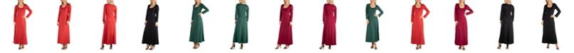 24seven Comfort Apparel Women's Long Sleeve T-Shirt Maxi Dress