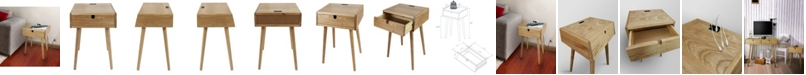 Yu Shan Freedom Nightstand/End Table with USB Ports Made of Solid American Oak