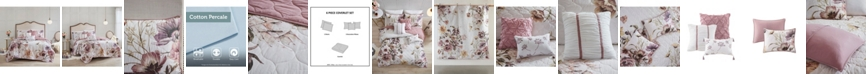 Madison Park Cassandra King/California King 6-Pc. Floral Print Reversible Cotton Quilted Coverlet Set