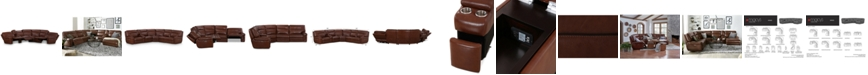 """Furniture CLOSEOUT! Myars 6-Pc. """"L"""" Shaped Leather Sectional Sofa With 3 Power Recliners, Power Headrests, And Console With USB Power Outlet, Created for Macy's"""