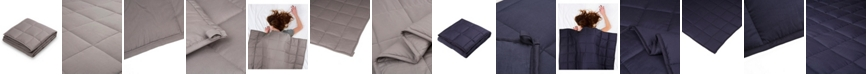 Glitzhome Cotton Shell Quilted 12lb Weighted Blanket, Twin