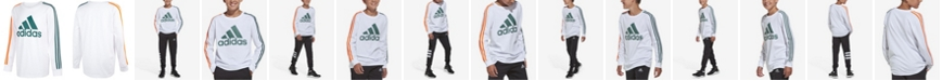 adidas Big Boys Long Sleeve Badge of Sport Stripe Tee