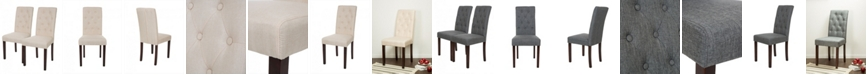 Glitzhome Fabric Dining Chair with Tufted Back Set of 2