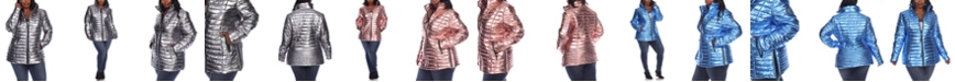 White Mark Women's Plus Size Metallic Puffer Coat