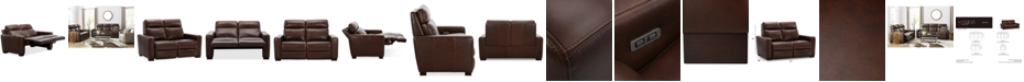 "Furniture Hayvon 61"" Leather Dual Power Loveseat"
