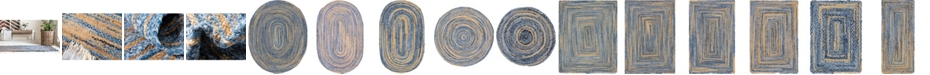 Bridgeport Home Roari Braided Chindi Rbc1 Blue/Natura Area Rug Collection