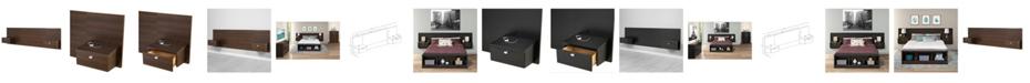 Prepac Series 9 Designer Floating Queen Headboard with Nightstands