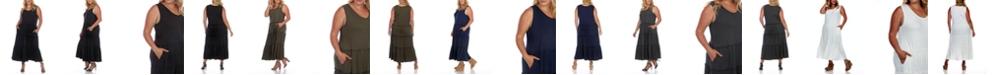 White Mark Plus Size Scoop Neck Tiered Midi Dress