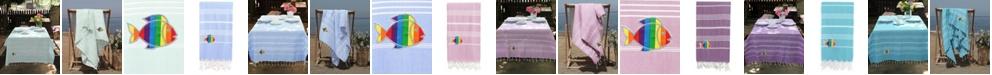 Linum Home 100% Turkish Cotton Lucky Sparkling Rainbow Fish Pestemal Beach Towel