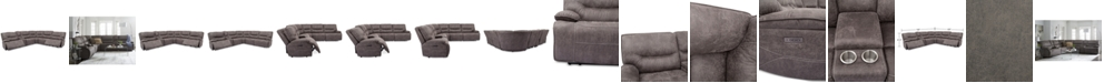 Furniture Felyx 6-Pc. Fabric Sectional Sectional Sofa With 2 Power Recliners, Power Headrests, Console And USB Power Outlet