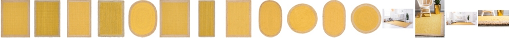 Bridgeport Home Braided Jute A Bja4 Yellow Area Rug Collection