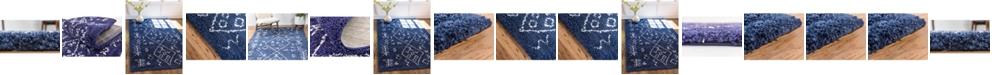 Bridgeport Home Fazil Shag Faz1 Navy Blue Area Rug  Collection