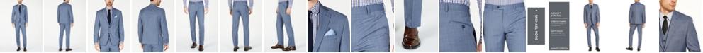 Michael Kors Men's Classic-Fit Airsoft Stretch Light Blue Windowpane Wool Suit Separates