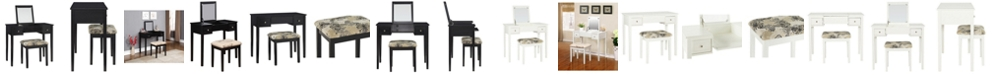 Linon Home Decor Butterfly Vanity Set with Bench and Mirror, White