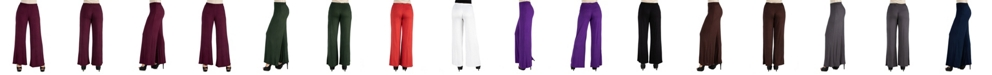24seven Comfort Apparel Women Comfortable Solid Color Palazzo Pants