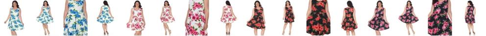 White Mark Women's Plus Size Floral Print Crystal Dress