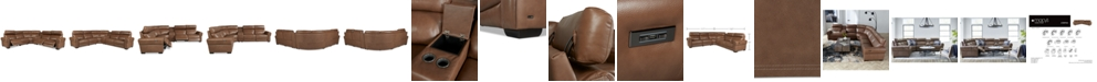 """Furniture Josephia 6-Pc. Leather """"L"""" Shaped Sectional with 3 Power Recliners and Console, Created for Macy's"""