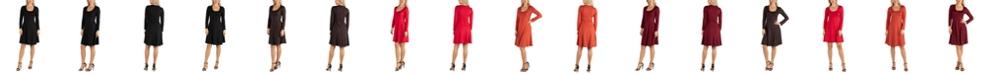 24seven Comfort Apparel Women's Long Sleeve Flared T-Shirt Dress