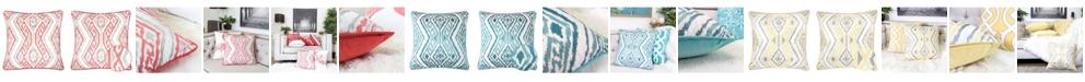 Homey Cozy Jessie Ikat Embroidery Square Decorative Throw Pillow