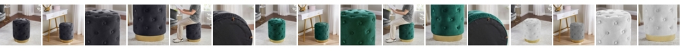 Ornavo Home Beverly Modern Contemporary Round Tufted Upholstered Velvet Ottoman with Gold-tone Metal Base
