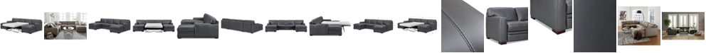 Furniture Avenell 3-Pc. Leather Sectional with Double Chaise & Full Sleeper Loveseat, Created for Macy's