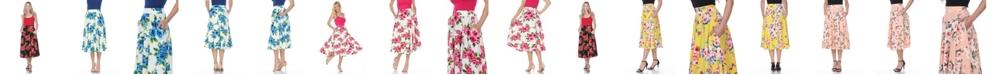 White Mark Floral Flared Midi Skirt