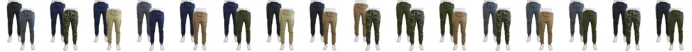 Galaxy By Harvic Men's Cotton Stretch Twill Cargo Joggers, Pack of 2