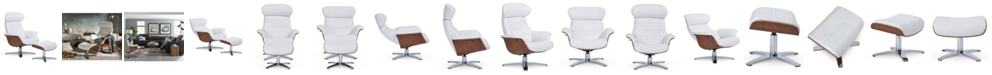 """Furniture Anniston 31"""" Leather Swivel Chair Recliner & Ottoman Set"""