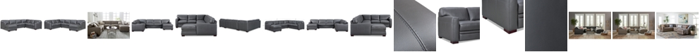 """Furniture Avenell 137"""" 3-Pc. Leather Sectional with Chaise, Created for Macy's"""