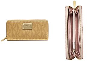 MICHAEL Michael Kors Handbag, Signature Metallic Zip Around Continental Wallet