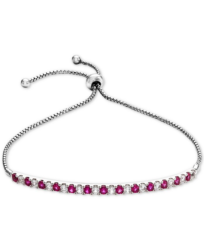 Macy's - Lab-Created Ruby (5/8 ct. t.w.) & White Sapphire (5/8 ct. t.w.) Bolo Bracelet in Sterling Silver