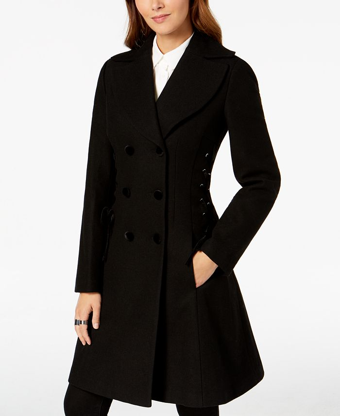 GUESS - Double-Breasted Side-Corset Walker Coat