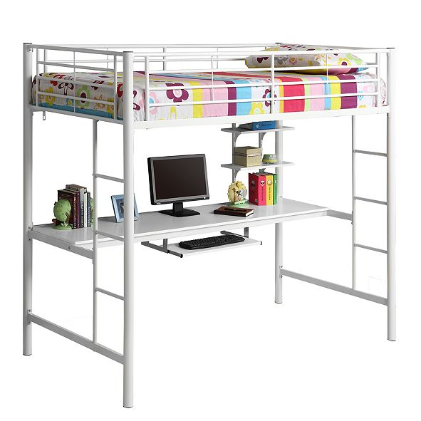 Walker Edison Premium Metal Twin Loft Bed with Wood Workstation- White