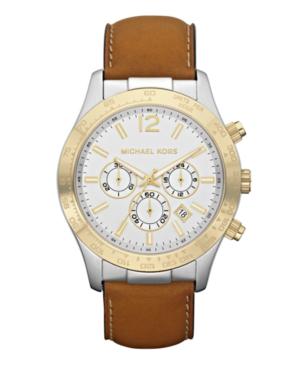Michael Kors Watch, Men's Chronograph Brown Leather Strap 45mm MK8203