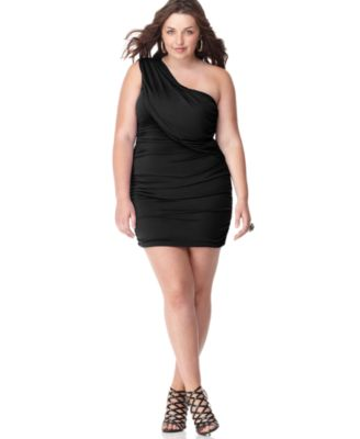 ING Plus Size Dress, One Shoulder Ruched