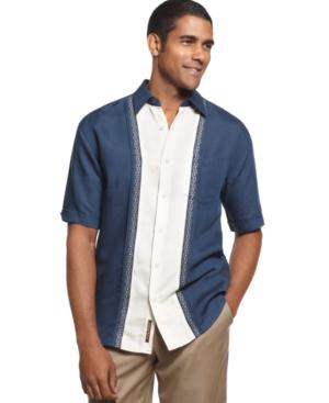 Cubavera Shirt, Linen Blend Short Sleeve Panel Shirt