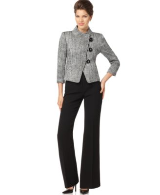 Tahari by ASL Suit, Three Quarter Sleeve Mandarin Collar Jacket & Wide Leg Pants