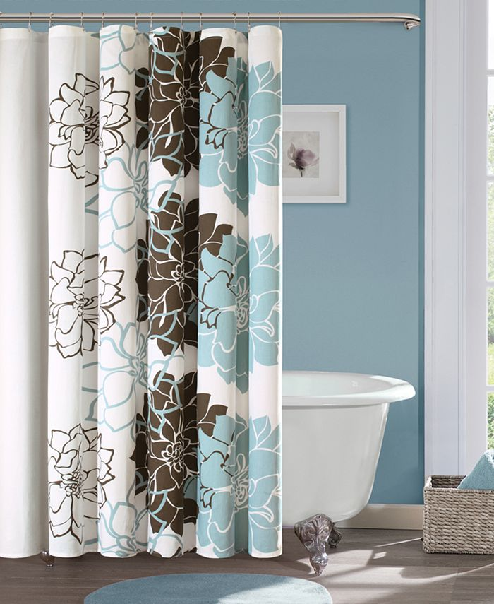 """Madison Park - Lola 72"""" x 72"""" 100% Cotton Sateen Floral Printed Shower Curtain"""