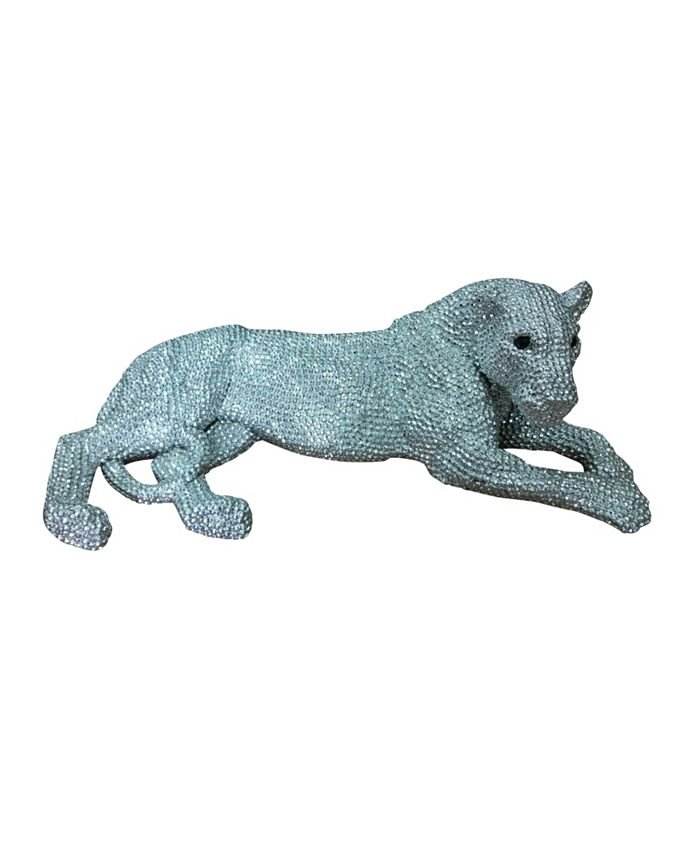 Moe's Home Collection - PANTHERA STATUE SMALL SILVER