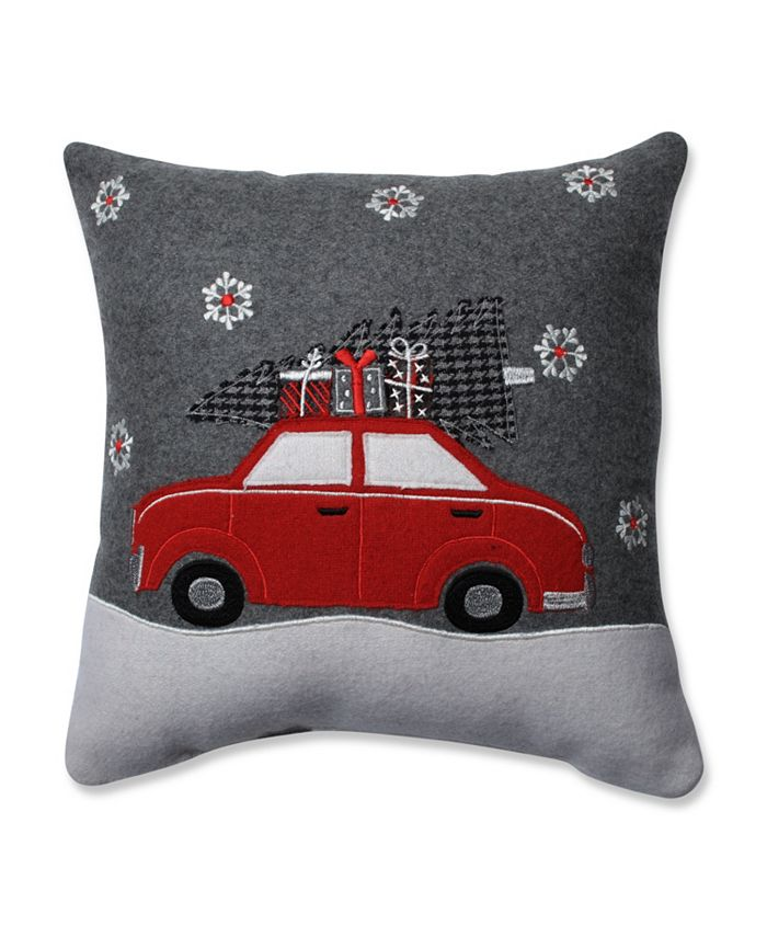 Pillow Perfect - Gift Car Grey-Red 16-inch Throw Pillow