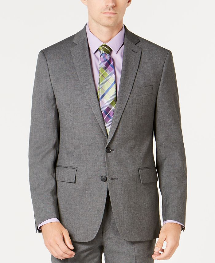 Ryan Seacrest Distinction - Men's Ultimate Moves Modern-Fit Stretch Black/White Birdseye Suit Jacket
