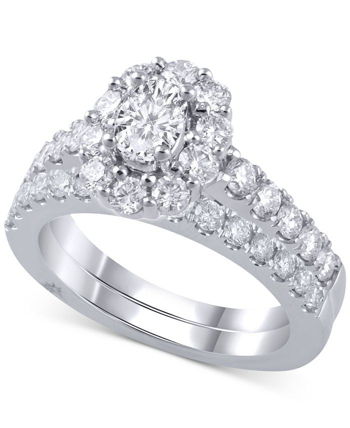 Marchesa - Diamond Halo Bridal Set (2 ct. t.w.) in 18k White Gold