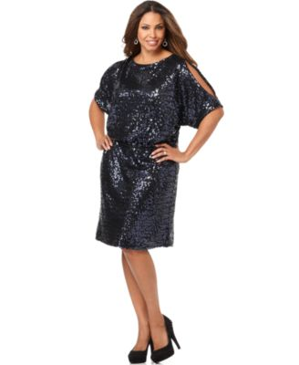 Xscape Plus Size Dress, Short Sleeve Sequined Shift