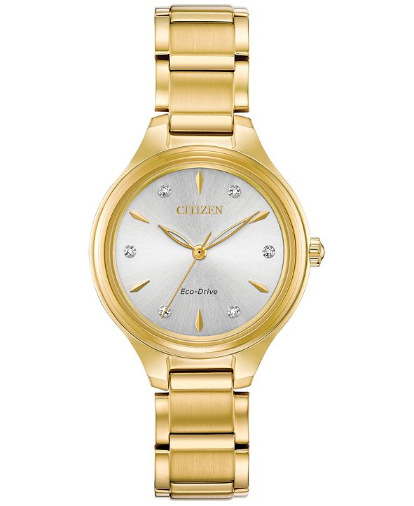 Citizen Eco-Drive Women's Corso Diamond-Accent Gold-Tone Stainless Steel Bracelet Watch 29mm