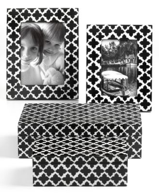 "CLOSEOUT! Purva Picture Frame, Black and White Quatrefoil 4"" x 6"""