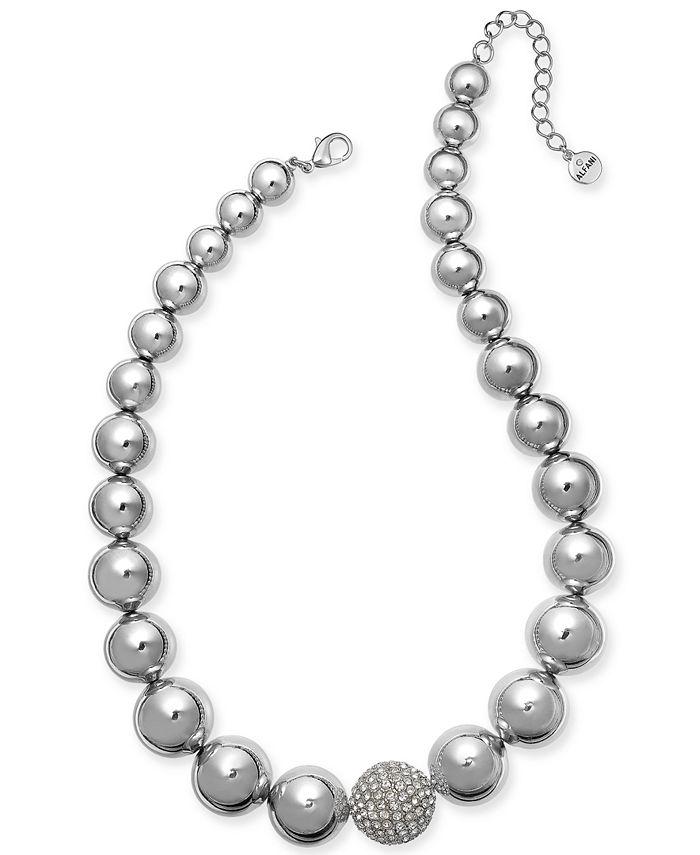 "Alfani - Silver-Tone Crystal Accent Bubble Statement Necklace, 17"" + 2"" extender"