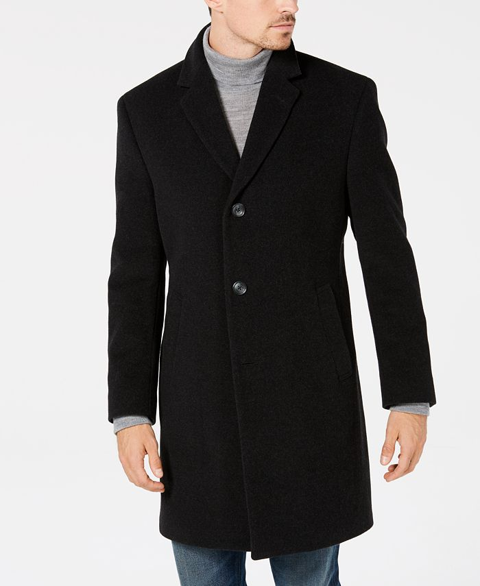 Nautica - Men's Classic/Regular Fit Wool/Cashmere Blend Solid Overcoat