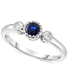 Sapphire (3/8 ct. t.w.) & Diamond Accent Ring in 14k White Gold (Also Available in Emerald and Pink Sapphire)